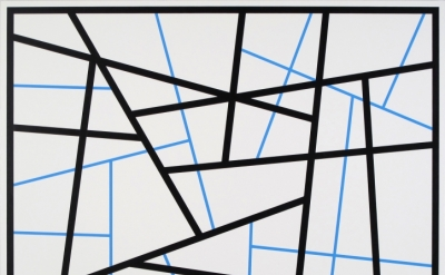 Cary Smith, Straight Lines #24 (black-blue), 2015 (courtesy of Fredericks & Frei