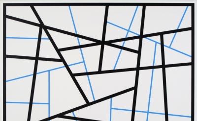 Cary Smith, Straight Lines #24 (black-blue), 2015 (courtesy of Fredericks & Frei