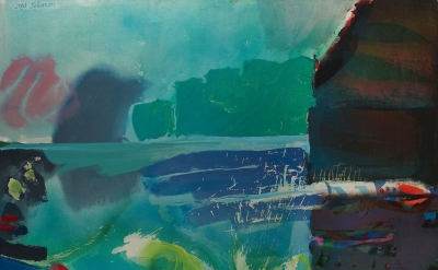 Syd Solomon, Cloudcall, 1975 Acrylic and aerosol enamel on canvas, 48 x 60 inche