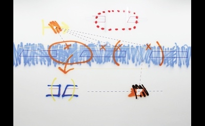 Peter Soriano, Bagaduce #4, 2012, spray paint and acrylic, 13 feet long (courtes