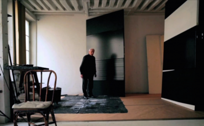 Pierre Soulage in his Paris Studio (Screen capture from Pierre Soulages: Outreno