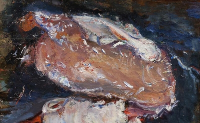 Chaim Soutine, Plucked Goose, 1932-1933, oil on panel, 19 1/4 x 16 1/2 inches (c