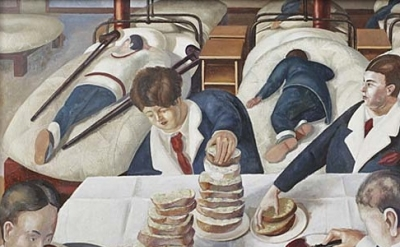 (detail) Stanley Spencer, Tea in the Hospital Ward, 1927-1932 (© the estate of S