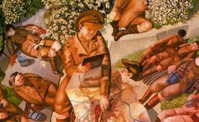 (detail) Stanley Spencer, Map Reading, 1927–1932, oil on canvas, 215 x 185 cm (N
