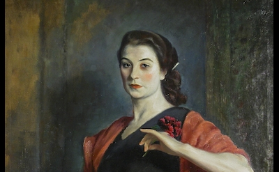 (detail) Eugene Speicher, Portrait of a French Girl (Jeanne Balzac), c. 1924 (Wo