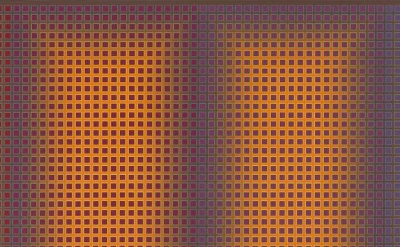 Julian Stanczak, Additional, 1980, acrylic on canvas, 36 by 104 inches  (courtes