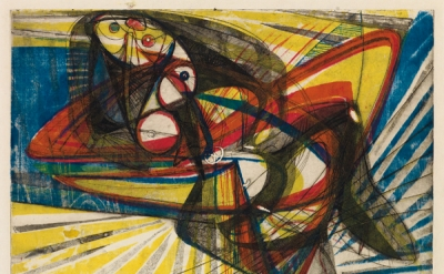 Stanley William Hayter, Unstable Woman, 1946-7, color engraving, soft-ground etc