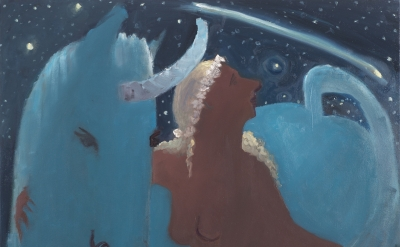 (detail) Kyle Staver, Unicorn and Shooting Star, 2015, oil on canvas, 42 x 36 in