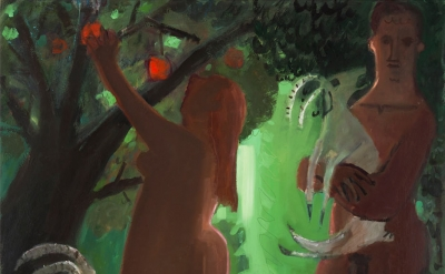 (detail) Kyle Staver, Adam and Eve and the Goats, 2016, oil on canvas, 64 x 54 inches (courtesy of Kent Fine Art)