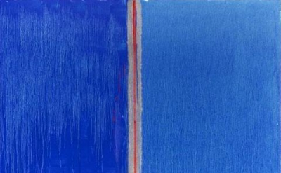 (detail) Pat Steir, Blue and Blue, 2013, oil on canvas, 132 x 132 inches (courte