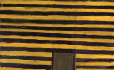 "Frank Stella, ""East Broadway"", 1958. Oil on canvas, 85 1/4 x 81 in (216.5 x 205.7 cm). Addison Gallery of American Art, Phillips Academy, Andover, Massachuetts, Gift of the artist (PA 1954), 1980.14. © 2016 Frank Stella / Artists Rights Society (ARS), New York"