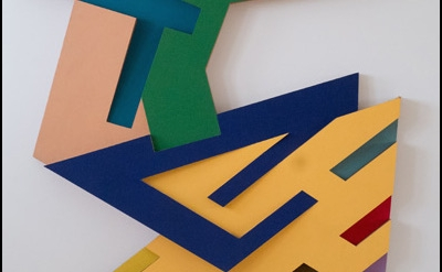 (detail) Frank Stella, Targowica III, 1973, felt and acrylic paint on Tri-Wall c