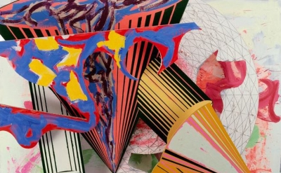 (detail) Frank Stella, Gobba, zoppa e collotorto, 1985, oil, urethane enamel, fluorescent alkyd, acrylic, and printing ink on etched magnesium and aluminum, 137 × 120 1/8 × 34 3/8 inches (The Art Institute of Chicago, © 2015 Frank Stella/Artists Rights Society)