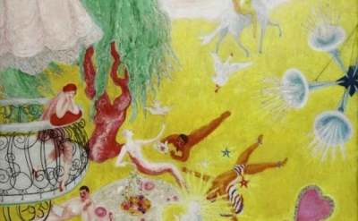 (detail) Florine Stettheimer, Love Flight of a Pink Candy Heart, 1930 (courtesy