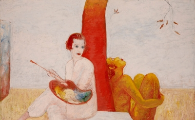 Florine Stettheimer, Self-Portrait with Palette (Painter and Faun), undated (Art Properties, Avery Architectural and Fine Arts Library, Columbia University in the City of New York. Gift of the Estate of Ettie Stettheimer, 1967)