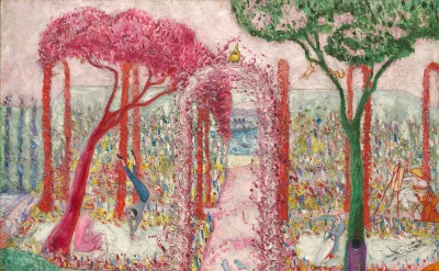 Florine Stettheimer, Sunday Afternoon in the Country, 1917, oil on canvas, 50 1/2 by 36 1/2 inches (Cleveland Museum of Art)