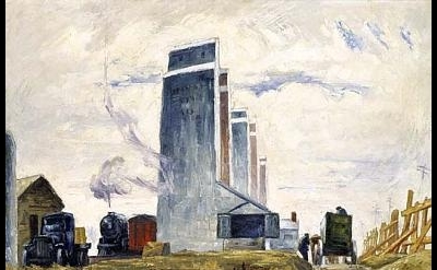 Clyfford Still, Row of Elevators, ca. 1928-29, oil on canvas 34 1/4 x 44 1/2 inc