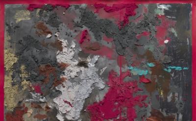 (detail) Kianja Strobert, Untitled, 2011, mixed media on paper, 50 x 38 inches (