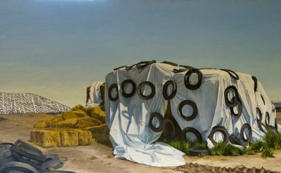 (detail) Altoon Sultan, Hay Storage, Central Valley, California, 1995, oil on ca