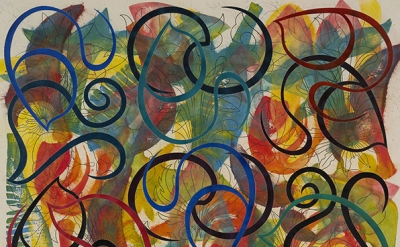 (detail) Philip Taaffe, Enchiridion, 2014, mixed media on canvas, 80 1/4 × 71 in