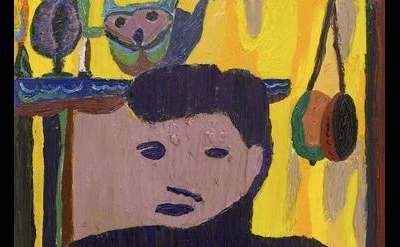 (detail) Tal R, The Yellow, oil on canvas, 44 1/8 x 27 1/8 inches  (courtesy of
