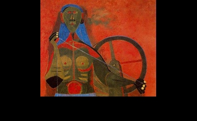 (detail) Rufino Tamayo, Woman Spinning (Mujer hilando), 1943, oil on canvas, 43