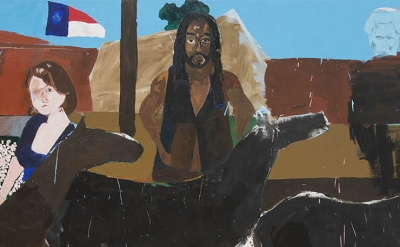 (detail) Henry Taylor,  Ancestors of Ghenghis Khan with Black Man on horse, 2015–17, acrylic on canvas, 8½ by 20 7/8 feet (courtesy of Blum & Poe, Los Angeles/New York/Tokyo)
