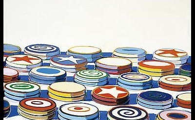 (detail) Wayne Thiebaud, Yo Yos, 1963, oil on canvas, 24 x 24 in. (61 x 61 cm).