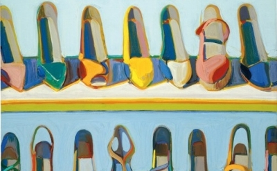 (detail) Wayne Thiebaud, Shoe Rows, 1975, oil on canvas, 30 x 24 inches (76.2 x
