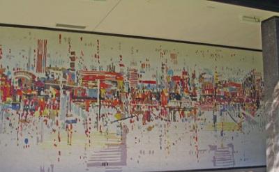 (detail) Wayne Thiebaud, Water City, Mosaic, 250 × 15', Sacramento Municipal Uti