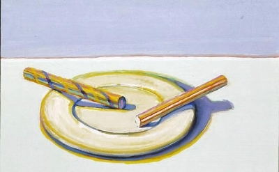 Wayne Thiebaud, Two Candy Sticks, 2004, oil on board, 10 1/2 x 13 3/8 inches (courtesy of John Berggruen Gallery)