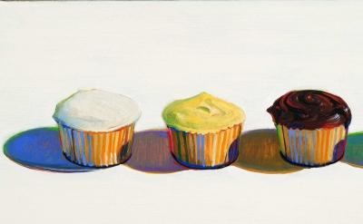 (detail) Wayne Thiebaud , Four Cupcakes, 1971 (Bologna Museum of Modern Art / Morandi Museum)