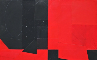 (detail) Roger Tibbets, Untitled, 2012, acrylic on canvas, 23 x 23 inches (court