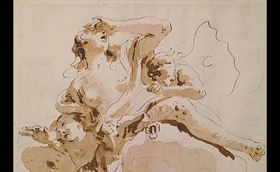 (detail) Giambattista Tiepolo, Psyche Transported to Olympus Pen and brown ink,