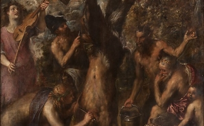 (detail) Tiziano Vecellio, The Flaying of Marsyas, c. 1570s, oil on canvas, 86 5