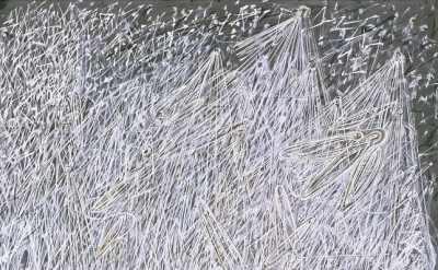 (detail) Mark Tobey, White Night, 1942, tempera on paperboard mounted on composi