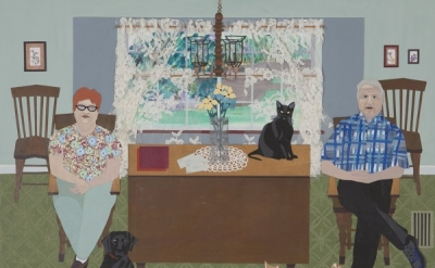 Ann Toebbe, Margie and Neal, 2012, mixed media on panel, 32 x 40 inches (courtes