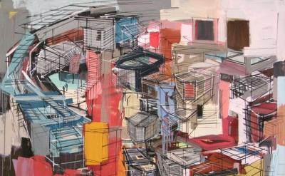 Denyse Thomasos, Birdie, 2009) acrylic on canvas, 40 x 54 inches