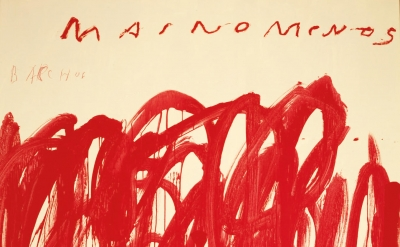 (detail) Cy Twombly, Untitled, Mainomenos, Bacchus, 2004, acrylic, wax crayon on wooden panel, 98 1/2 × 74 3/4 inches (© Cy Twombly, courtesy of Gagosian Gallery)