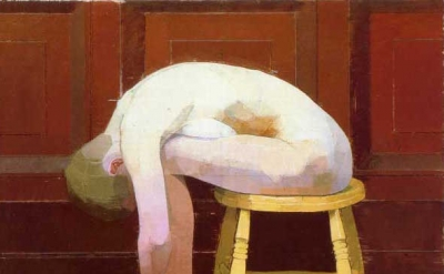 Euan Uglow, Curled nude on a stool, 1982-3, oil on canvas 30 x 39 inches