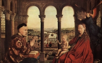 (detail) Jan van Eyck, The Madonna of Chancellor Rolin, c. 1435, Louvre, Paris