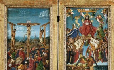 (detail) Jan van Eyck, Crucifixion and Last Judgment, ca. 1435 – 40, oil on canv