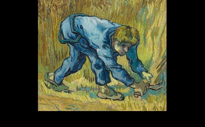 (detail) Vincent Van Gogh, The Reaper (after Jean-François Millet), 1889, oil on
