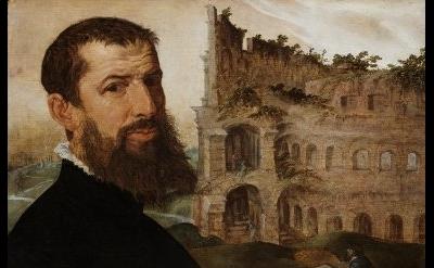 Maarten van Heemskerk, Self-portrait with Colosseum, 1553, Oil on panel, Collect
