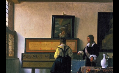 (detail) Johannes Vermeer, The Music Lesson, 1662-65, oil on canvas (Royal Colle