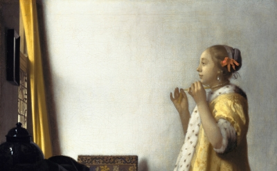 (detail) Johannes Vermeer, 1664, oil on canvas, 21 5/8 in × 17 3/4 inches (Gemäl