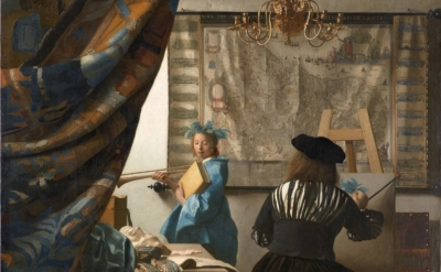 (detail) Jan Vermeer, The Artist in His Studio, 1665-1670, oil on canvas, 52 x 44 inches (Kunsthistorisches Museum Vienna)