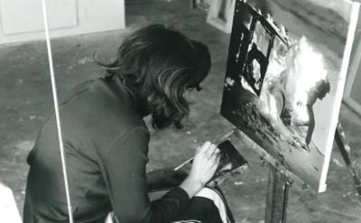 Vija Celmins in the studio