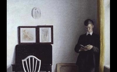 (detail) Vilhelm Hammershøi, Interiør med ung læsende mand 1898, Olie på lærred,