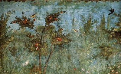(detail) La Pittura di Giardino (The Garden Fresco in the Villa di Livia), c. 30